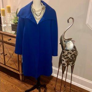 Ann Taylor Coat With Wide Collar Bright Blue Sz XL
